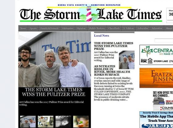 Storm Lake Times front page